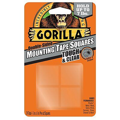 Gorilla Mounting Tape Squares 1 Pre-cut Clear 24 Squares