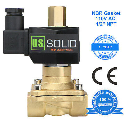 U. S. Solid 12 Brass Electric Solenoid Valve 110v Ac Normally Open Nbr