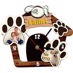 Wall Clock Customized Print Personalized Masonite Dog Paw Photo