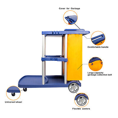 Commercial Janitorial Cleaning Cart 3 Shelf Housekeeping Ultility Cart Vinyl Bag