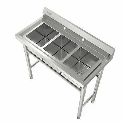 Heavy Duty 3-compartment Stainless Steel Utility Sink 39 Wide Rolled Edges New