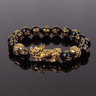 New Feng Shui Black Obsidian Alloy Wealth Lucky Bracelet US STOCK Obsidian Bead Bracelet