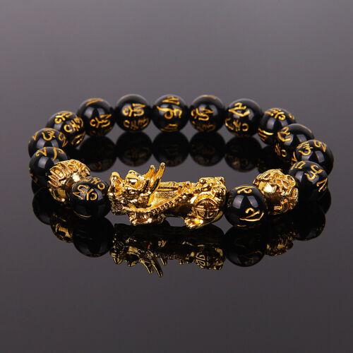 Feng Shui Black Obsidian Alloy Wealth Bracelet Attract Wealth Good Luck Gift Ebay