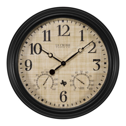 "404-3015TX La Crosse Clock Co. 15"" Indoor/Outdoor Wall Clock with Temp/Humidity"