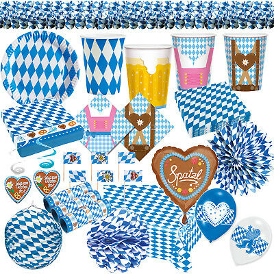 Bayern Party Dekoration Oktoberfest Deko Wiesn Raute blau - Dekorationen Party