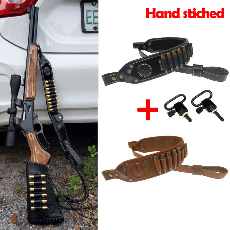 Buffalo Hide Leather Rifle Sling with Ammo Cartridge Shell Holder Hand Stiched