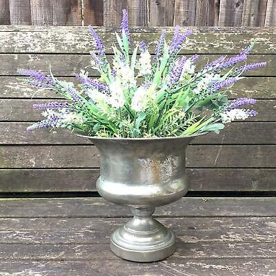 Vintage Style Antique Silver Metal Urn Garden Planter Flower Pot Vase Container