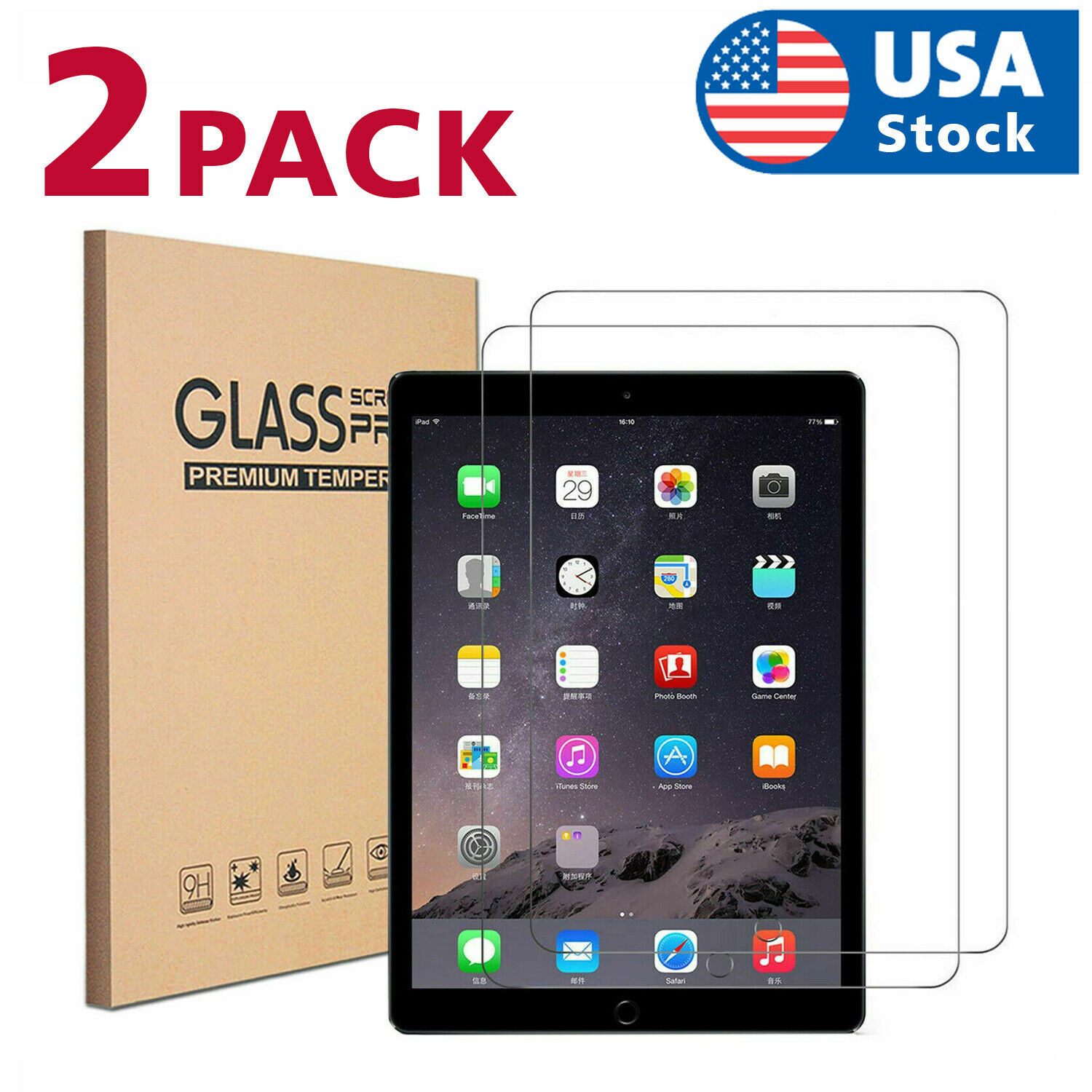 2PACK Tempered Glass Screen Protector For iPad 5th 6th Generation iPad Pro 9.7″ Computers/Tablets & Networking