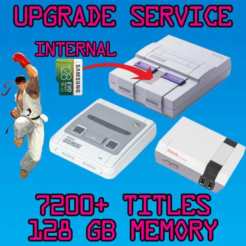 Upgrade Service for SNES NES Classic Mini System 128GB Internal Memory 7200+ gam