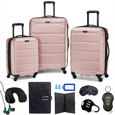 Samsonite Omni Hardside Nested Luggage Spinner Set, Pink w/ 10pc Accessory Kit