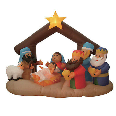 6 Foot Christmas Inflatable Nativity Scene Blow Up Used Party Yard Decoration