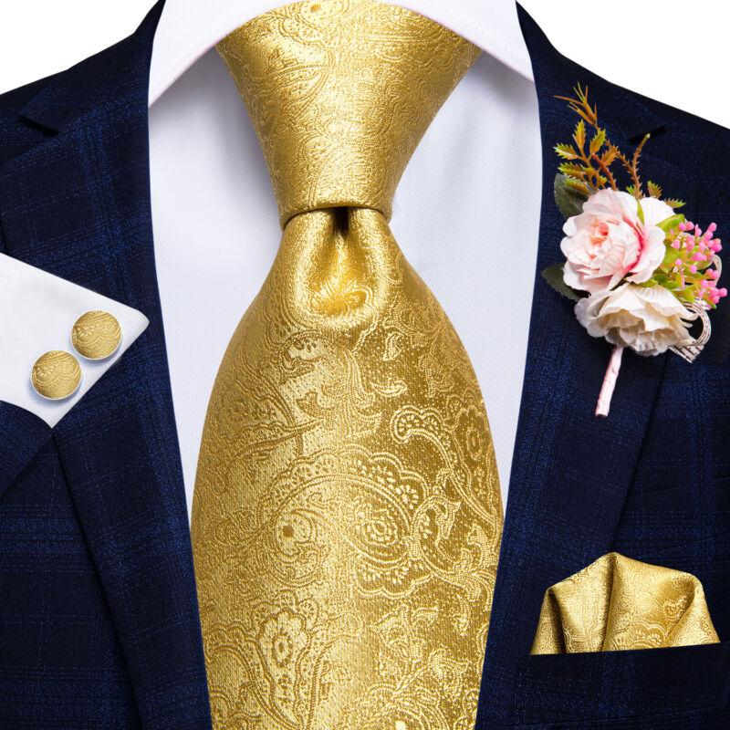 Mens Tie Silk Necktie Novelty Geometric Paisley Floral Pocket Square Cufflink Us