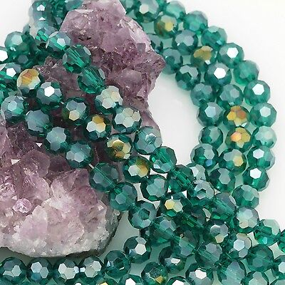 72 pcs 8mm Chinese Crystal Glass Loose Beads Round Faceted Peacock Green with AB