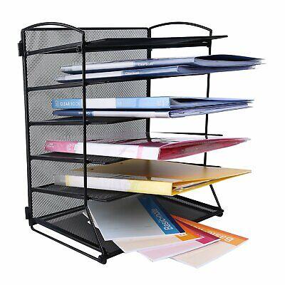 6-Tier Mesh Desktop File Organizer Document Letter Magazine Tray Holder Black US Tier Desktop Magazine Holder