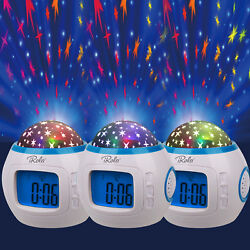 Kids Music LED Star Sky Projection Lamp Digital Alarm Clock Thermometer Calendar