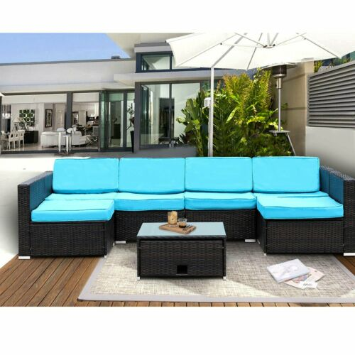 Garden Furniture - 7 PC Outdoor Patio Sectional Furniture PE Wicker Rattan Sofa Set Backyard Garden