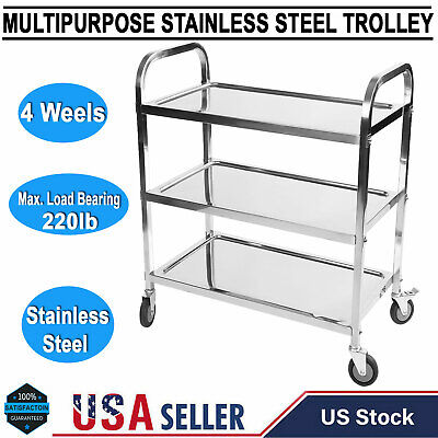 3 Tier Portable Stainless Steel Home Kitchen Trolley Organiser Cart With Wheels