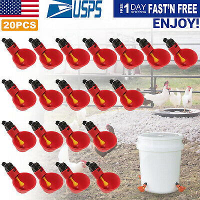 20x Chicken Waterer Automatic Poultry Chicken Drinker Cups With Mounting Joint