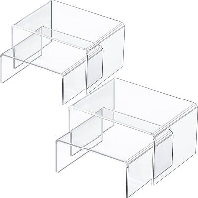 Chuangdi 4 Pieces Clear Acrylic Display Risers Jewelry Display Risers Showcase