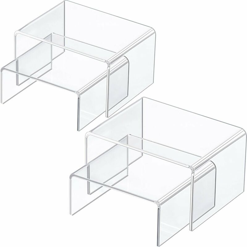 Chuangdi 4 Pieces Clear Acrylic Display Risers, Jewelry Display Risers Showcase