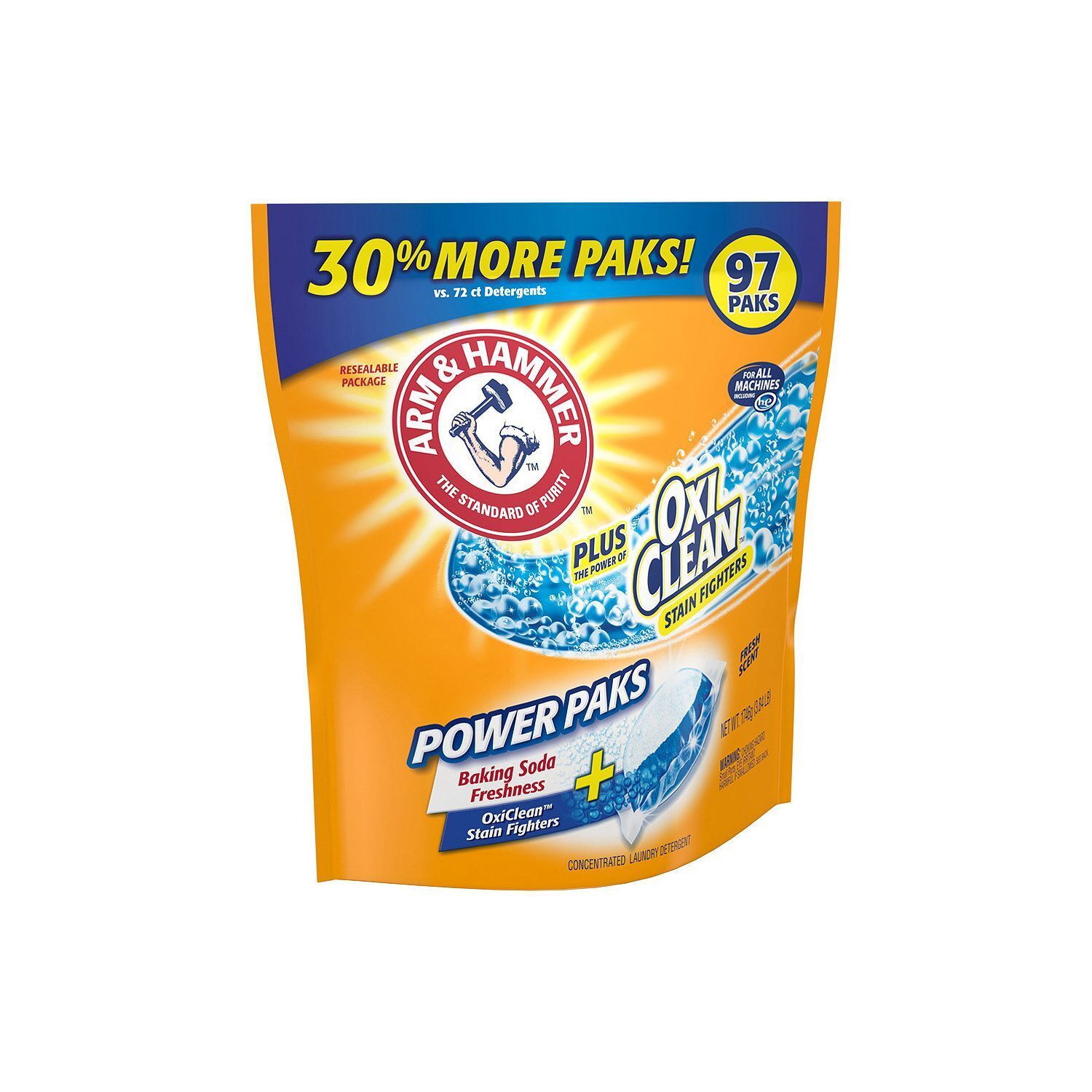 Arm & Hammer Plus OxiClean Power Paks, Single Use Laundry De