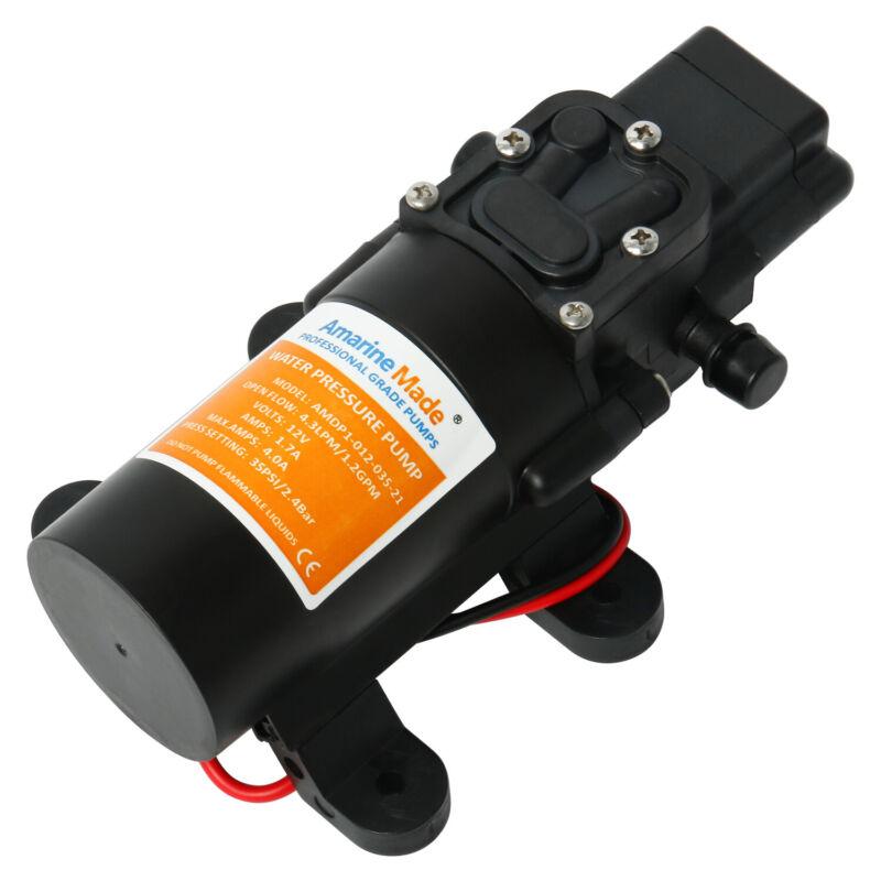 12V DC 1.2 GPM 35 PSI Diaphragm Water Pressure Pump for Boat,Caravan RV Marine