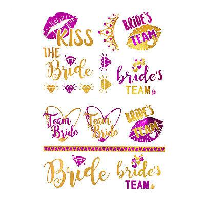 oos JGA Tattoo Set Bride - Team Bride Hochzeit Pink Gold (Hochzeit Temporäre Tattoos)