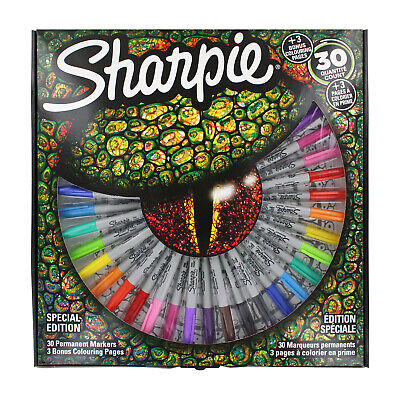 Sharpie Permanent Markers, Fine Point, Assorted Colors, 30-Count + 3 Pages