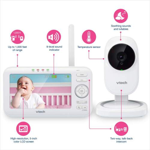 "VTech VM5251 5"" Full Color Safe Night Vision Video Baby Monitor 1000ft Range"