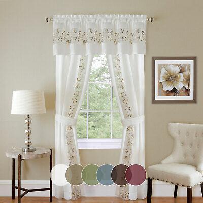 5PC Light Filtering Semi-Sheer Window Curtain Set -  Panels Valance and - Semi Sheer Window