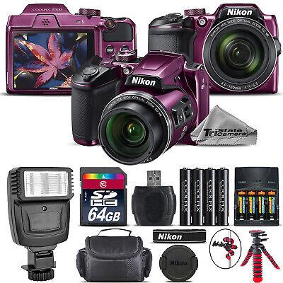 Nikon COOLPIX B500 Camera Plum 40x Zoom + Flash + Tripod + Case -64GB Kit Bundle