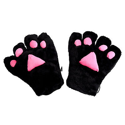 2 x Cat Paw Plush Gloves Party Cosplay Black K9 CUTE (Cosplay Paws)