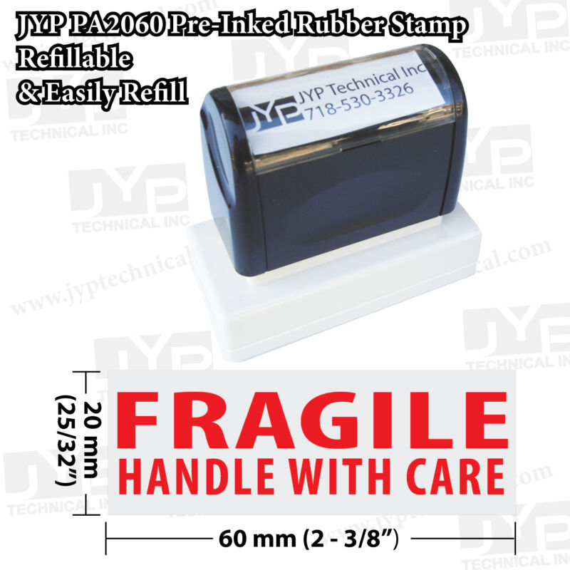 JYP PA2060 Pre-Inked Rubber Stamp,  FRAGILE HANDLE WITH CARE