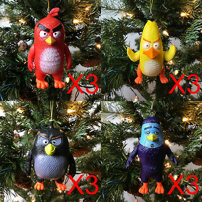 New 12 Pcs Cute Angry Birds Movie Figures Doll Toy Gift Christmas Tree Ornaments
