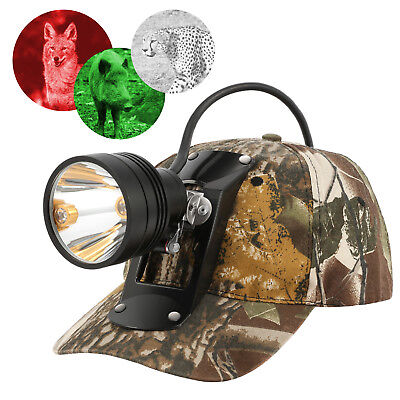 Rechargeable CREE 80000 LUX LED Coyote Hog Coon Hunting Light & 3 LED Cap -
