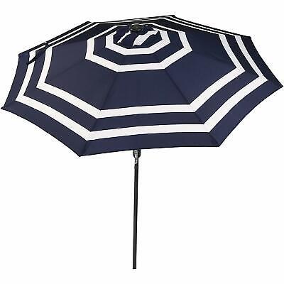 Outdoor Patio Umbrella with Solar Lights Tilt Crank LED Navy Blue Stripe 9 Foot ()