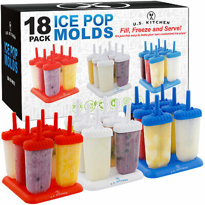 U.S. Kitchen Supply 18 Classic Ice Pop Molds Makers 6 Red, 6