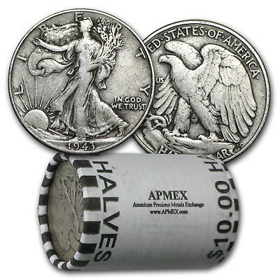 90% Silver Walking Liberty Halves $10 20-Coin Roll Avg Circ - SKU #5293