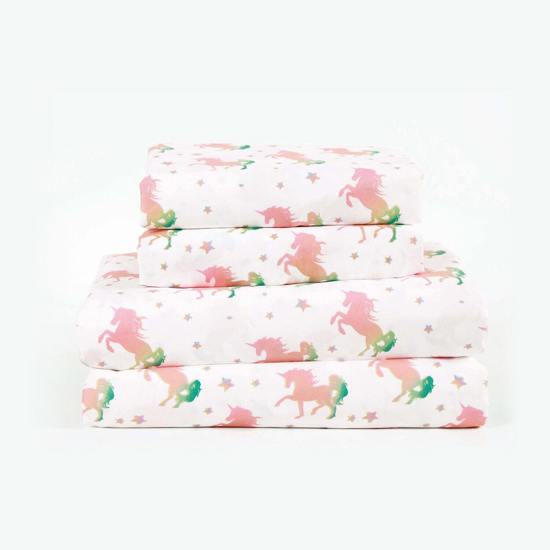 Twin, Full or Queen Magic Rainbow Unicorn Microfiber Bed Sheet Set Deep Pocket Bedding