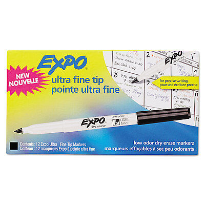 Expo Low-odor Dry-erase Marker Ultra Fine Point Black Dozen 1871131
