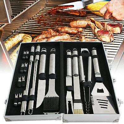 BBQ Barbecue Tool Set Grill Grilling Tools Accessory Stainless Steel 19 Pieces
