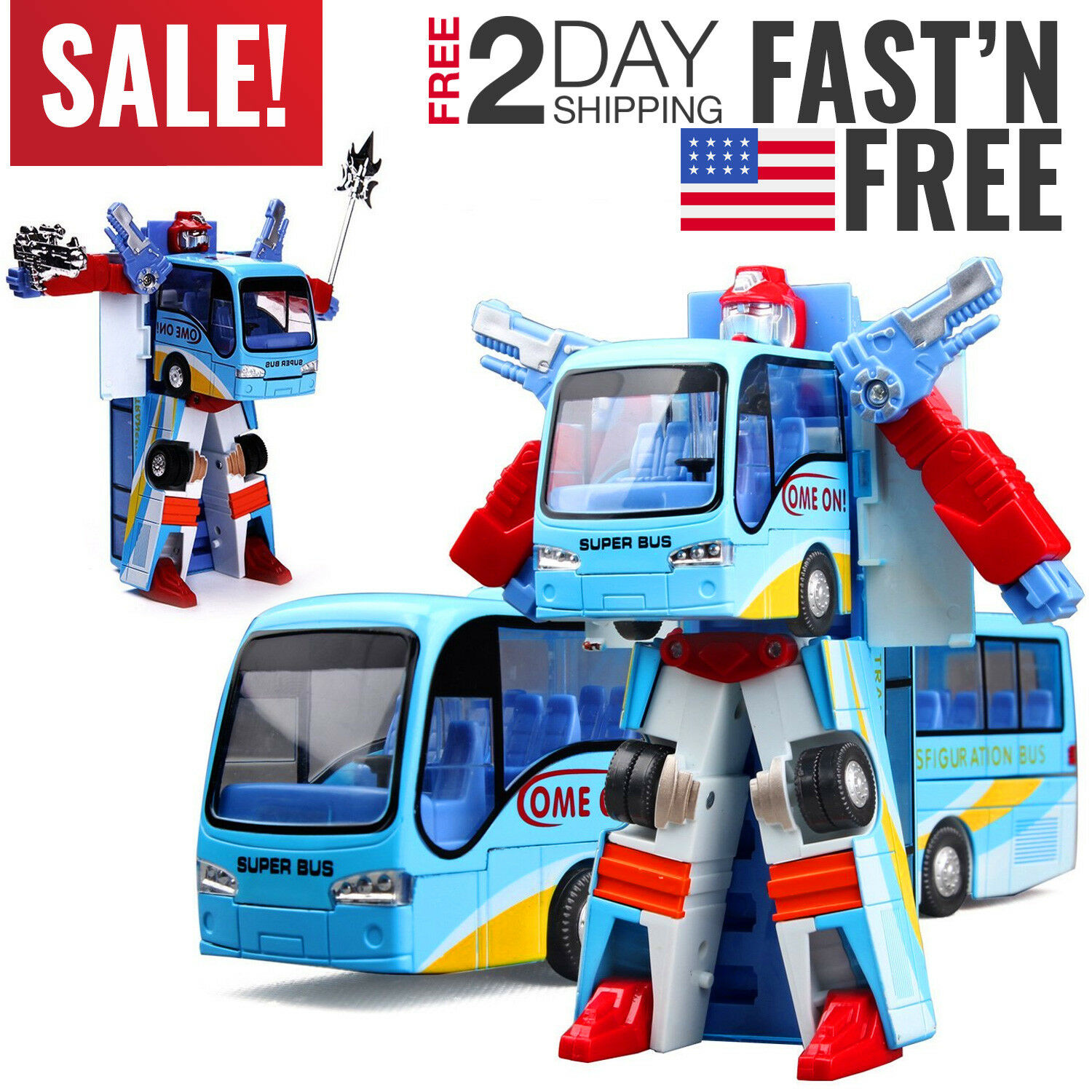 Toys For Boys Robot Bus Kids Toddler Robot 3 4 5 6 7 8 9 Year Old