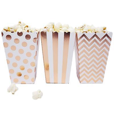 36 White Rose Gold Dot Stripe Chevron Mini Popcorn Boxes Candy Party Favor - Mini Popcorn