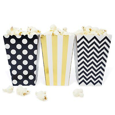 Black And Gold Party Favors (36 Black and Gold Polka Dot Stripe Chevron Mini Popcorn Candy Party Favor)