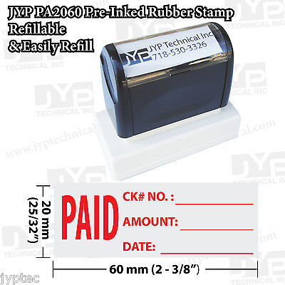 Jyp Pa2060 Pre-inked Rubber Stamp Paid Ck No.amount Date And Line