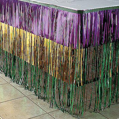 MARDI GRAS Fat Tuesday Party Decoration Metallic FRINGE TABLE SKIRTING Skirt - Mardi Gras Table Decor