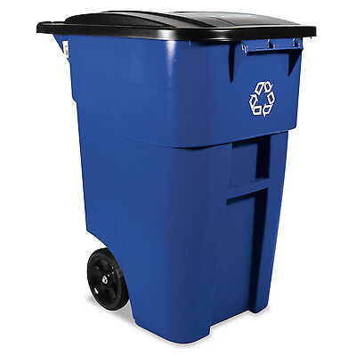 Rubbermaid Commercial Brute Recycling Rollout Container Square 50gal Blue
