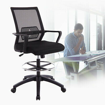 Office Drafting Chair Stool Mesh Back Counter Height Adjustable Swivel Task Seat