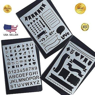 Calligraphy Bullet Journal Stencil, Plastic Alphabet Letter Number Bujo Planner