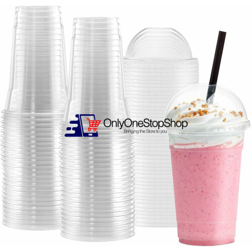 [BULK] Disposable Plastic To Go Cups with Dome Lids and Straws - Clear 100 Sets